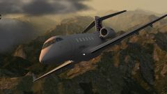 Challenger 300 over Swiss Mountains