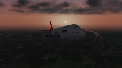 747 KIAD approach sunrise